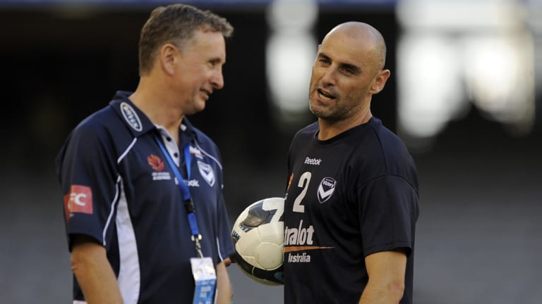 Good old days: Former Victory coach Ernie Merrick with captain Kevin Muscat in 2010.