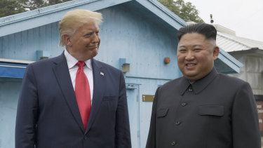 Donald Trump and Kim Jong-un in the Demilitarised Zone on Sunday.