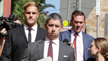 Not-guilty plea: Jack de Belin leaves Wollongong Courthouse after the start of his sexual assault case.