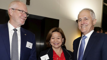 ABC chairman Justin Milne, former ABC managing director Michelle Guthrie and former prime minister Malcolm Turnbull.