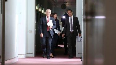 Prime Minister Malcolm Turnbull with then media adviser John Garnaut in February, 2016.