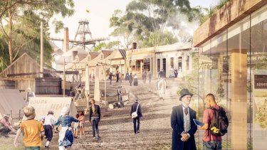 "An artist's impression of what the upgraded Sovereign Hill will look like after a $10 million funding announcement on Saturday. The money is coming from the Commonwealth government as part of an ""icons of tourism"" funding package in this year's federal budget."