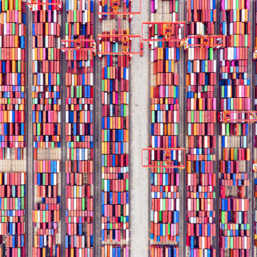 Shipping containers seen from above at the world's biggest automated container port, Yangshan Deepwater Port in Shanghai, in May 2021.