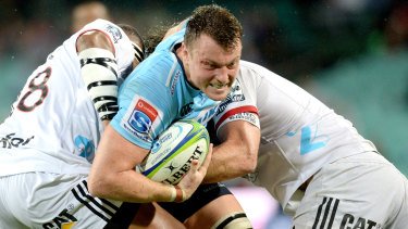 Looking ahead: Jack Dempsey hits the Crusaders line hard in an encouraging win for the Waratahs.