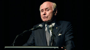 Former Australian Prime Minister John Howard delivers the eulogy during a State Memorial Service for former deputy Prime Minister Doug Anthony, at Tweed Heads in NSW.
