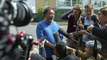 Artist Ai Weiwei speaks to the media after visiting WikiLeaks founder Julian Assange at Belmarsh prison in London.