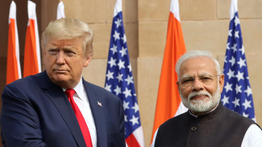 The violence erupted a few kilometres from where US President Donald Trump was meeting with India's Prime Minister Narendra Modi.
