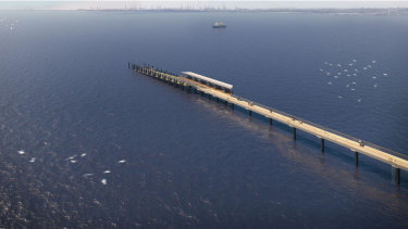 An artist's impression of the proposed  230-metre wharf at Kurnell.