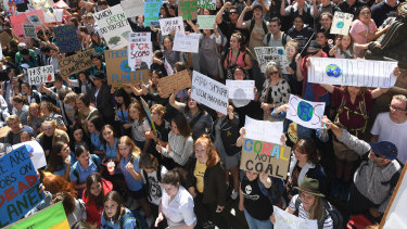 About 20,000 students fill Melbourne's CBD to protest the government's inaction on climate change.