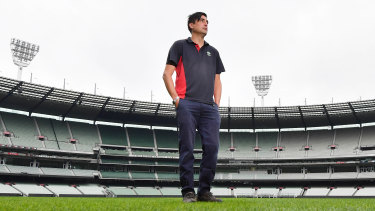 Michael Salvatore in an empty MCG, which he is keeping in shape for the day football finally returns.