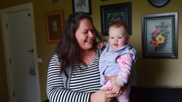 Samantha White with her 10-month old baby Imogen.