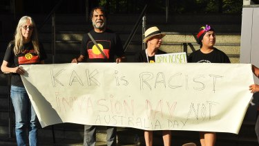 Protesters outside Network 10 outraged by Kerri-Anne Kennerley's comments about Indigenous issues.