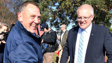 Gavin Pearce with Scott Morrison on election day.