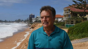 Gary Silk on the Narrabeen/Collaroy coast, which has suffered serious erosion again after storm surges.