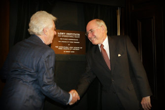 Frank Lowy with then prime minister John Howard at the official opening of the Lowy Institute in 2005.