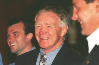 All smiles ... Bob Fulton shares a laugh before the 1996 grand final.