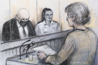 A court sketch shows Sarah Everard's mother Susan, right, reading a victim impact statement as Wayne Couzens, left, sits in the dock.