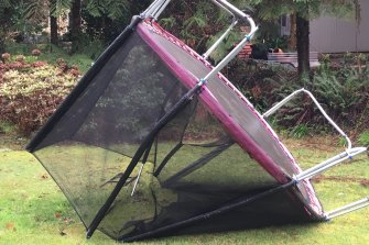 The wild winds bounced this trampoline onto its side in Olinda.