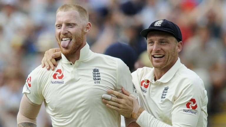 Happier times: Stokes and teammate Jos Buttler in the recent Test against India.
