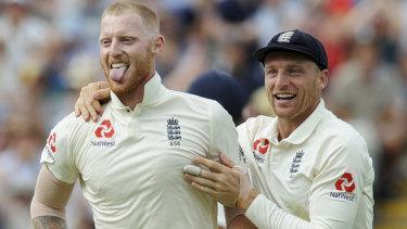 England's Ben Stokes and teammate Jos Buttler.