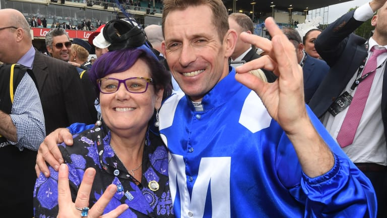 Champion connections: Winx owner Debbie Kepitis with jockey Hugh Bowman on Saturday.