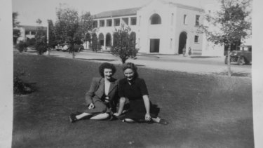 Gwen Lawless and a friend in early Canberra.