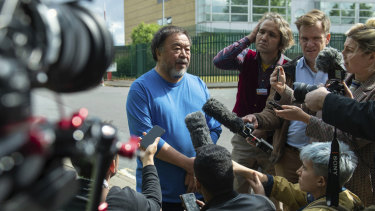 Artist Ai Weiwei speaks to the media after visiting WikiLeaks founder Julian Assange at Belmarsh prison in London.