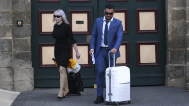 Salim Mehajer and his lawyer Zali Burrows are seen as he leaves Cooma Correctional Centre in Cooma.