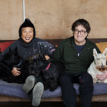 Australian artist Lindy Lee with partner Rob Scott-Mitchell and Scottie dogs Mungo, Ziva and Mae Mae.