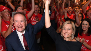 Bill Shorten and Labor's successful candidate for Longman, Susan Lamb on Saturday night, July 28.