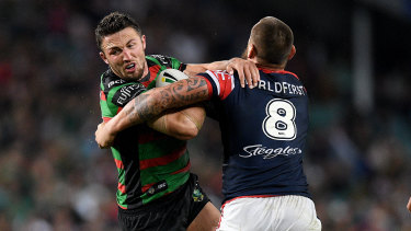 Rip and tear: Sam Burgess will lock horns again on Friday night with long-time rival Jared Waerea-Hargreaves.