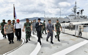 Indonesian President Joko Widodo visits a military base in the Natuna Islands, near the South China Sea, in January.