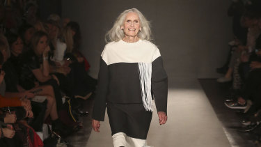 Aged 87, on a London fashion runway.