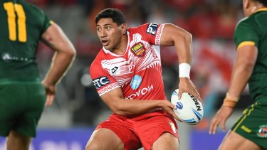 Jason Taumalolo celebrates Tonga's shock Test win over the Kangaroos.