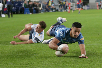 Rieko Ioane scores for the Blues to help condemn the NSW Waratahs to a 10th consecutive defeat.