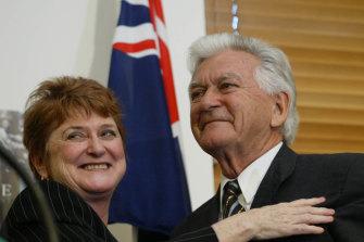 Susan Ryan and Bob Hawke at Parliament House in 2003.