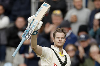 Steve Smith celebrates his double century in the fourth Test at Old Trafford.