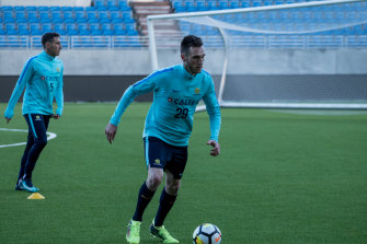 Bright prospect: Aleksandar Susnjar training with now Macarthur teammate Mark Milligan with the Socceroos in 2018.