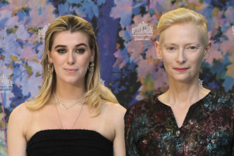 Honor Swinton Byrne, left, and Tilda Swinton at the Cannes Film Festival this month.