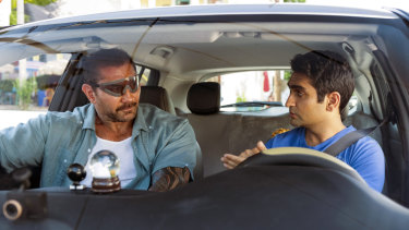 Dave Bautista, left, and Kumail Nanjiani in Stuber.