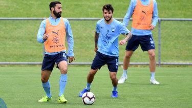 Return: Sydney FC players Alex Brosque and Daniel De Silva at training.