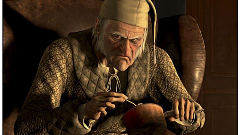 Jim Carrey as Ebenezer Scrooge in the 2009 film, A Christmas Carol.