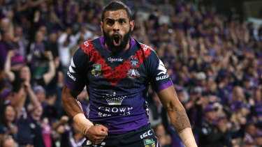 Josh Addo-Carr celebrates his try on Anzac Day.