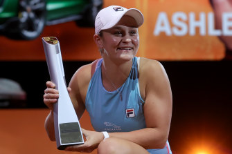 Ashleigh Barty celebrates victory in Stuttgart during here stunning run of form on clay.