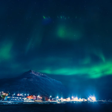 The Northern lights over Longyearbyen.