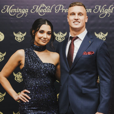 Jack Wighton with partner Monisha Lew Fatt at the Mal Meninga Medal during the week.