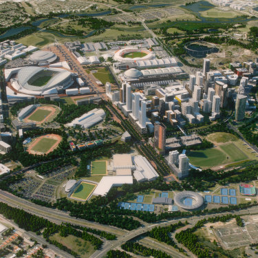 An artist's impression of what authorities hope Sydney Olympic Park will resemble in 2030.