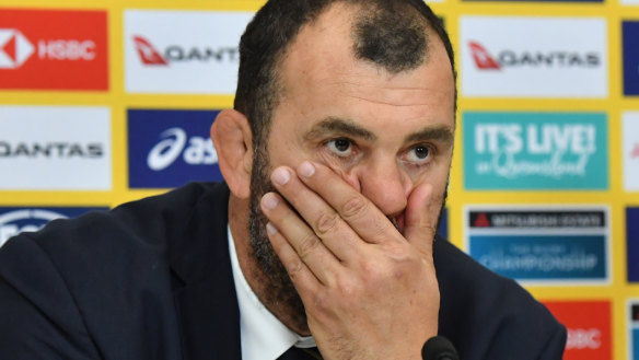 Frustration: Cheika was disconsolate after the loss to Argentina.