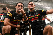 The Panthers crossed the line in their grand-final celebrations.