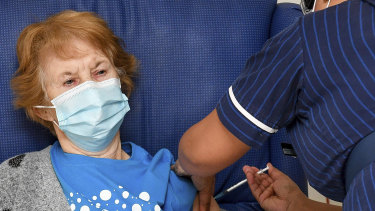 Margaret Keenan, the first patient in the UK to receive the British approved Pfizer-BioNTech COVID-19 vaccine.